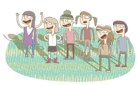 gleeful: Small vignette illustration of singing teenagers. Illustration is in eps10 vector mode, elements are isolated in a group.
