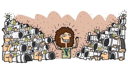 Beroemd personage omringd door menigte van paparazzi. Illustratie is in eps8 vector-modus.