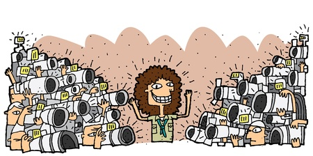 Famous character surrounded by crowd of paparazzi. Illustration is in eps8 vector mode.