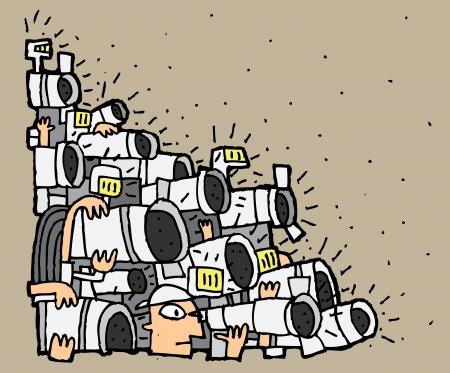 Paparazzi cartoon No.2. Illustratie is in eps8 vector-modus.