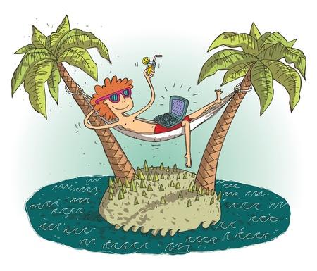 Global village cartoon met tevreden tiener op onbewoond eiland. Illustratie is in eps10 vector-modus.