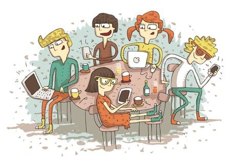 自分のガジェットで遊んでの若者のグループとグローバル ・ ヴィレッジ漫画。図は eps10 ベクター モードです。  イラスト・ベクター素材
