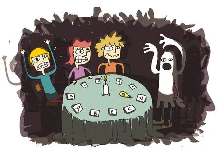 Ghost Funny Cartoon with teenagers communicating to other world. Illustration is in eps10 vector mode.