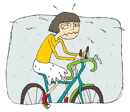 Exhausted girl riding a bike cartoon. Illustration is in eps8 vector mode.