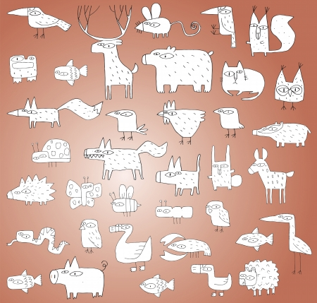 Funny Animals Collection in black and white, with outlines, isolated on gradient background. Elements are isolated in a group, illustration in eps10 vector mode.