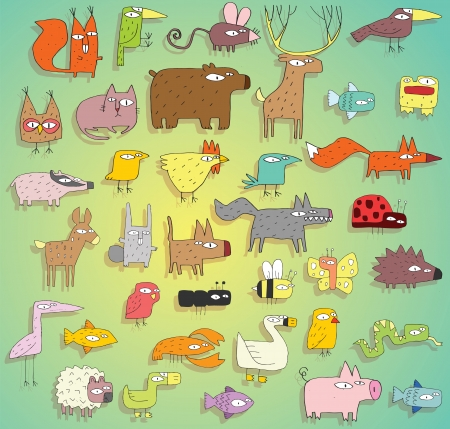 Funny Animals collectie in kleuren, met lijnen en schaduwen, op verloop achtergrond. Elementen zijn geïsoleerd in een groep, schaduwen op aparte laag, illustratie in eps10 vector-modus. Stock Illustratie