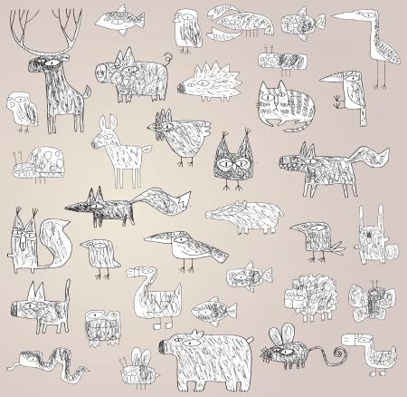 xilografia: Divertido Grunge Doodled Animales Colección en blanco y negro