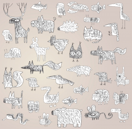 Funny Grunge Doodled Animals Collection in black and white Vector