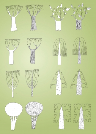 Grunge Trees Collection in black and white, with outlines, on gradient background. Elements are isolated in a group, illustration in eps10 vector mode. Vector