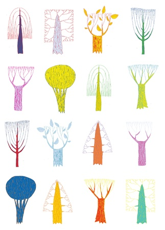 naive: Grunge Trees Collection in pop-art colors