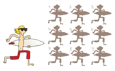 surfer vector: Surfer Shadows Visual Game. Task: find the right shadow image! Answer: No. 8. Illustration is in eps8 vector mode! Illustration