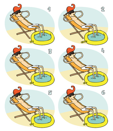 identical: Match Pairs Visual Game: Small Pool. Task: find two identical images! Answer: 1 and 6. Illustration is in eps8 vector mode!