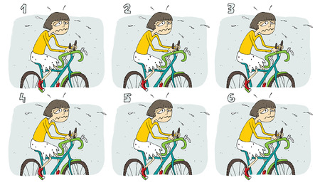 identical: Match Pairs Visual Game: Bike. Task: find two identical images! Answer: 3 and 4. Illustration is in eps8 vector mode!
