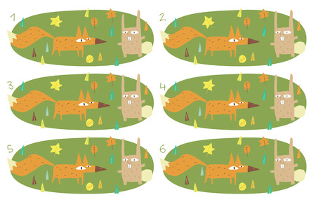 Match Pairs Visual Game: Foy and Rabbit. Task: find two identical images! Answer: 4 and 5. Illustration is in eps8 vector mode! Vector