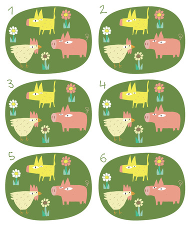 Match Pairs Visual Game: Animals. Task: find two identical images! Answer: 1 and 6. Illustration is in eps8 vector mode! Vector