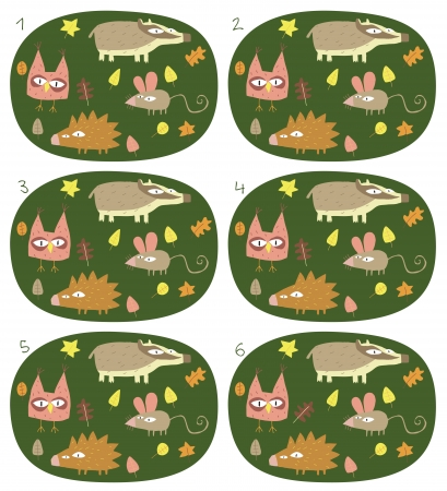 identical: Match Pairs Visual Game: Forest Animals. Task: find two identical images! Answer: 2 and 5. Illustration is in eps8 vector mode!