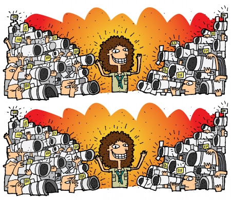 Paparazzi Differences Visual Game. Task: find 10 differences! Solution in hidden layer (vector file only). Illustration is in eps8 vector mode!