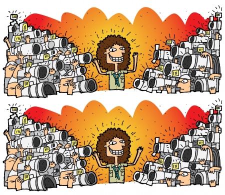 Paparazzi Verschillen Visuele Game. Taak: vind 10 verschillen! Oplossing in de verborgen laag (alleen vector bestand). Illustratie is in eps8 vector-modus! Stock Illustratie