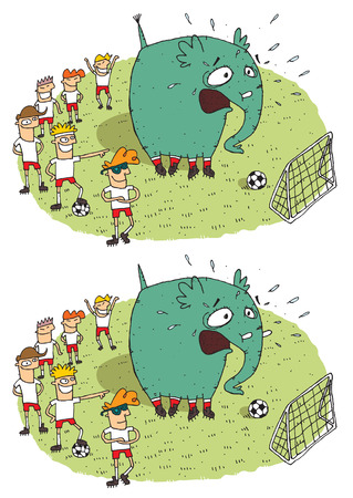Soccer Elephant Differences Visual Game. Task: find 10 differences! Solution in hidden layer (vector file only). Illustration is in eps8 vector mode! Vector