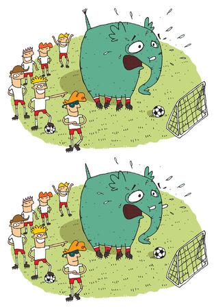 Voetbal Elephant Verschillen Visual Game. Taak: vind 10 verschillen! Oplossing in de verborgen laag (alleen vector bestand). Illustratie is in eps8 vector-modus!