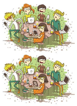 Verschillen Web Vrienden Visual Game. Taak: vind 10 verschillen! Oplossing in de verborgen laag (alleen vector bestand). Illustratie is in eps8 vector-modus!