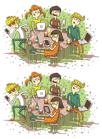 brainteaser: Web Friends Differences Visual Game. Task: find 10 differences! Solution in hidden layer (vector file only). Illustration is in eps8 vector mode!