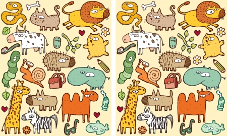 Animals Differences Visual Game. Task: find 10 differences! Solution in hidden layer (vector file only). Illustration is in eps8 vector mode! Reklamní fotografie - 22297757