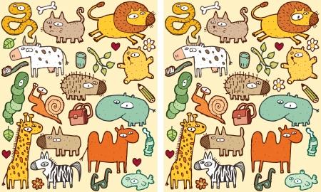 Tiere Visuelle Unterschiede Spiel. Aufgabe: Finden Sie 10 Unterschiede! Lösung in versteckten Schicht (nur Vektor-Datei). Illustration ist in eps8 Vektor-Modus! Standard-Bild - 22297757