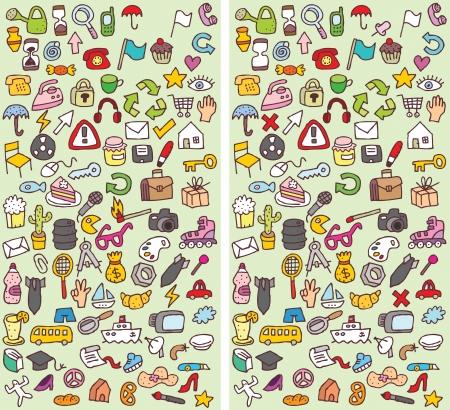Icone differenze visive di gioco. Compito: trovare 10 differenze! Soluzione in strato nascosto (solo file vettoriale). L'illustrazione è in modalità vettoriale eps8!