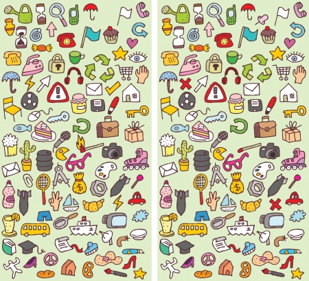 Icons Differences Visual Game. Task: find 10 differences! Solution in hidden layer (vector file only). Illustration is in eps8 vector mode! Vector