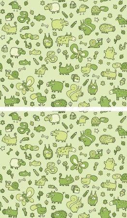 Animals Differences Visual Game. Task: find 10 differences! Solution in hidden layer (vector file only). Illustration is in eps8 vector mode! Stock Vector - 22297762