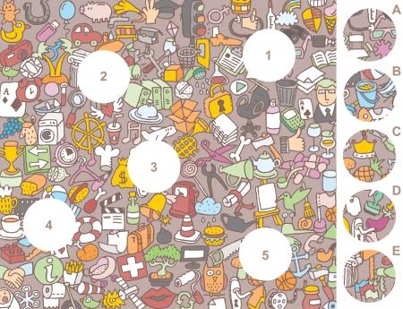 Match stukken, visueel spel. Antwoord: 1-A, 2-E, 3-D, 4-B, 5-C. Illustratie is in eps8 vector-modus!