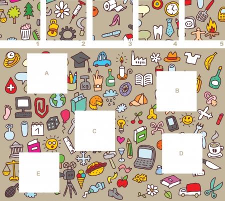 Match stukken, visueel spel. Antwoord: A-4, B-5, C-2, E-1, D-3. Illustratie is in eps8 vector-modus! Stock Illustratie