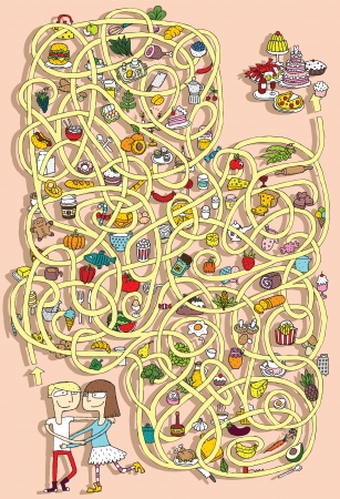 rope way: Food Maze Game. Solution in hidden layer!  Illustration