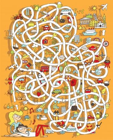Reizen Maze Game. Oplossing in verborgen laag!
