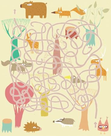 vogelspuren: Tiere Labyrinth-Spiel. Lösung in versteckten Schicht! Illustration