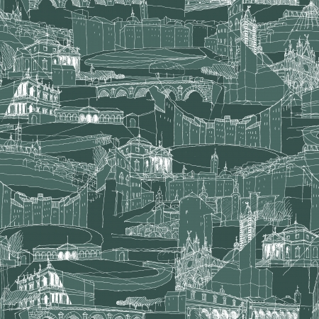 Historic Italian Architecture Collage is seamless pattern with sketch drawings of monuments. Illustration is in eps8 vector mode. Vector