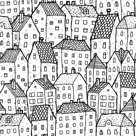 City seamless pattern in balck and white is repetitive texture with hand drawn houses. Illustration is in eps8 vector mode. Vector