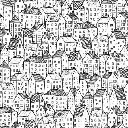 Ciudad sin patrón en el posterior y blanco es de textura repetitiva con casas dibujadas a mano. La ilustración es en modo eps8 vector.