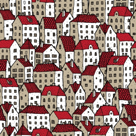 City seamless pattern in colours is repetitive texture with hand drawn houses. Illustration is in eps8 vector mode.