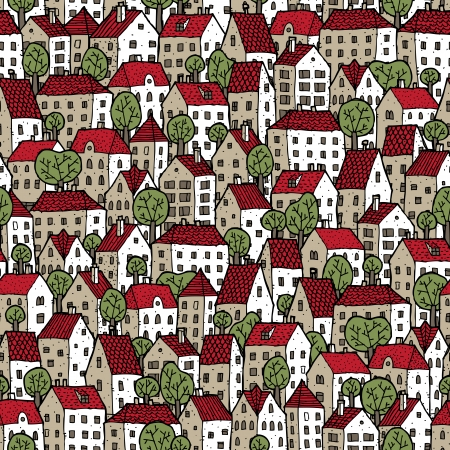 City seamless pattern in colours with trees is repetitive texture with hand drawn houses. Illustration is in eps8 vector mode. Vector