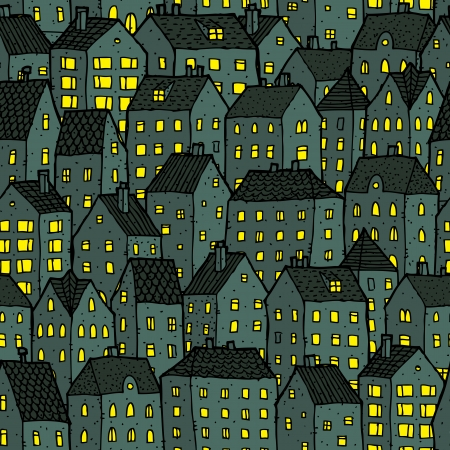 City seamless pattern at night is repetitive texture with hand drawn houses. Illustration is in eps8 vector mode. Vector