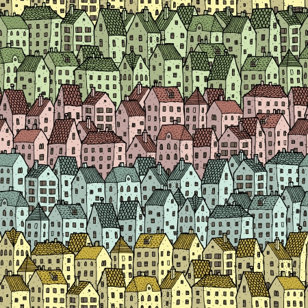 Rainbow City seamless pattern is repetitive texture with hand drawn houses. Illustration is in eps8 vector mode. Vector