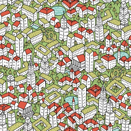 Modern Eco City seamless pattern is repetitive texture with hand drawn houses. Illustration is in eps8 vector mode. Vector