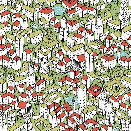 Moderne Eco stad naadloze patroon is repetitief patroon met de hand getekende huizen. Illustratie is in eps8 vector-modus.