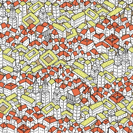 Doodle City seamless pattern is repetitive texture with hand drawn buildings. Illustration is in eps8 vector mode. Vector