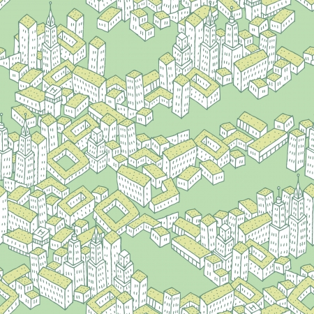Modern Green City seamless pattern is repetitive texture with hand drawn houses. Illustration is in eps8 vector mode. Vector