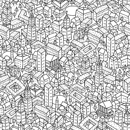 City seamless pattern is repetitive texture with hand drawn houses. Illustration is in eps8 vector mode.