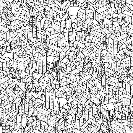Ciudad sin fisuras patrón repetitivo es la textura con las casas dibujadas a mano. La ilustración es en modo eps8 vector.