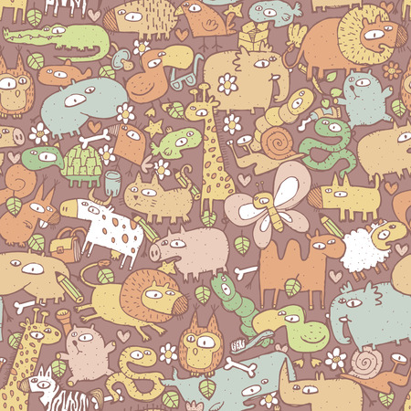 Animals Collage is seamless pattern with doodle drawings of funny animals and objects. Illustration is in vector mode.